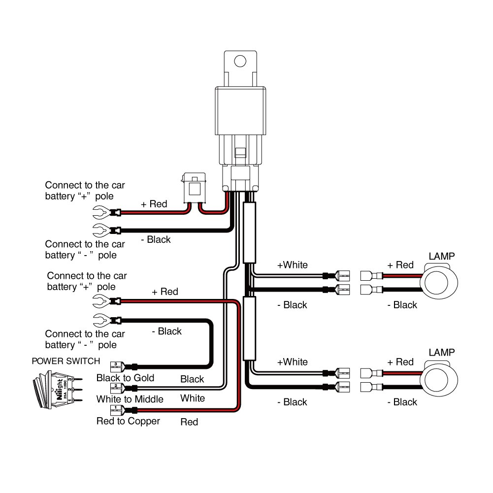 Pole Power Switch Relay 12v Wiring Diagram Switched Nilight Off Road Atv Jeep Led Light Bar Harness Kit A On
