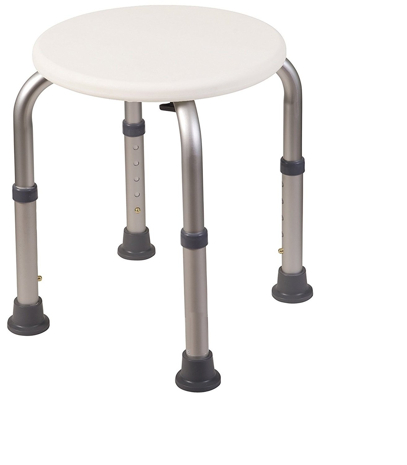 Healthline Trading Round Stool Bath Bench Adjustable Height, Lightweight Compact and Small Chair for Shower, with Non-Slip Seat, White by Healthline Trading