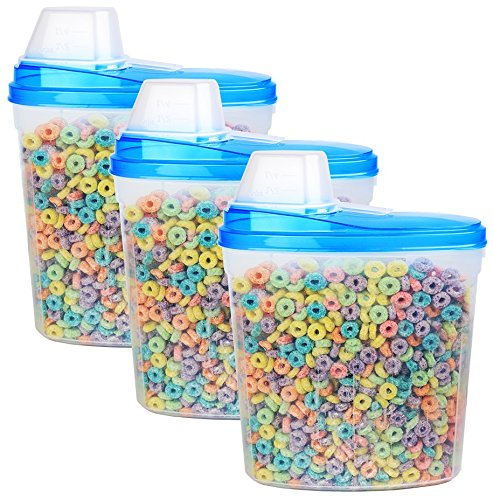 3 Pack- Large Plastic Cereal Keeper / Snack Dispenser Canister Set - Dry Food Storage Holder Containers, w/ Scoop on Lid, Dimensions: 10.57