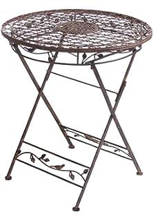Gartentisch AVIS Rund 70cm Metalltisch Klappbar Aus Metall Mediteran Tisch  NEU
