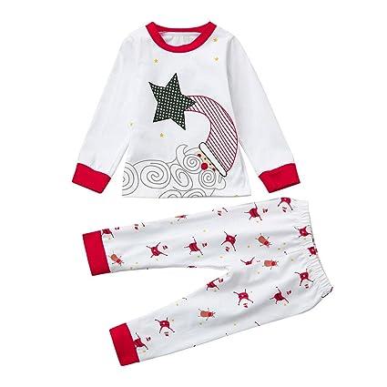 Conjuntos Niño y Niña de Navidad, LILICAT Papá Noel Blusa + Pantalones Pijamas de Navidad