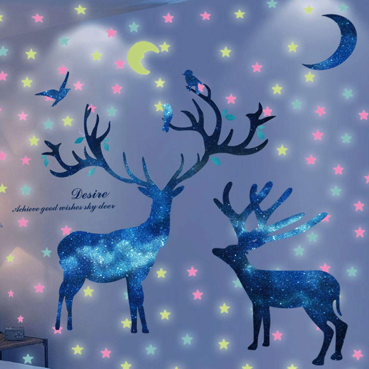 HO BEAR Starry Deer Wall Decor Sticker with Glow Moon Star Stickers Room Decor Murals Teen Bedroom Wall Decals
