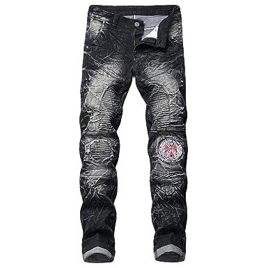26320ed2e727 MODOQO Men s Knee Ripped Jeans Distressed Biker Plus Size Bootcut Wash  Straight Leg Denim Pants (