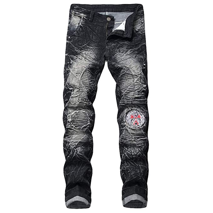 Mymyguoe Hombre Pierna Recta Pantalones Vaqueros, Vintage Look Leisure Slim Fit Jeans, Hombres Washed Fit Jeans Viejos Pantalones Denim Mezclilla Desgastada ...