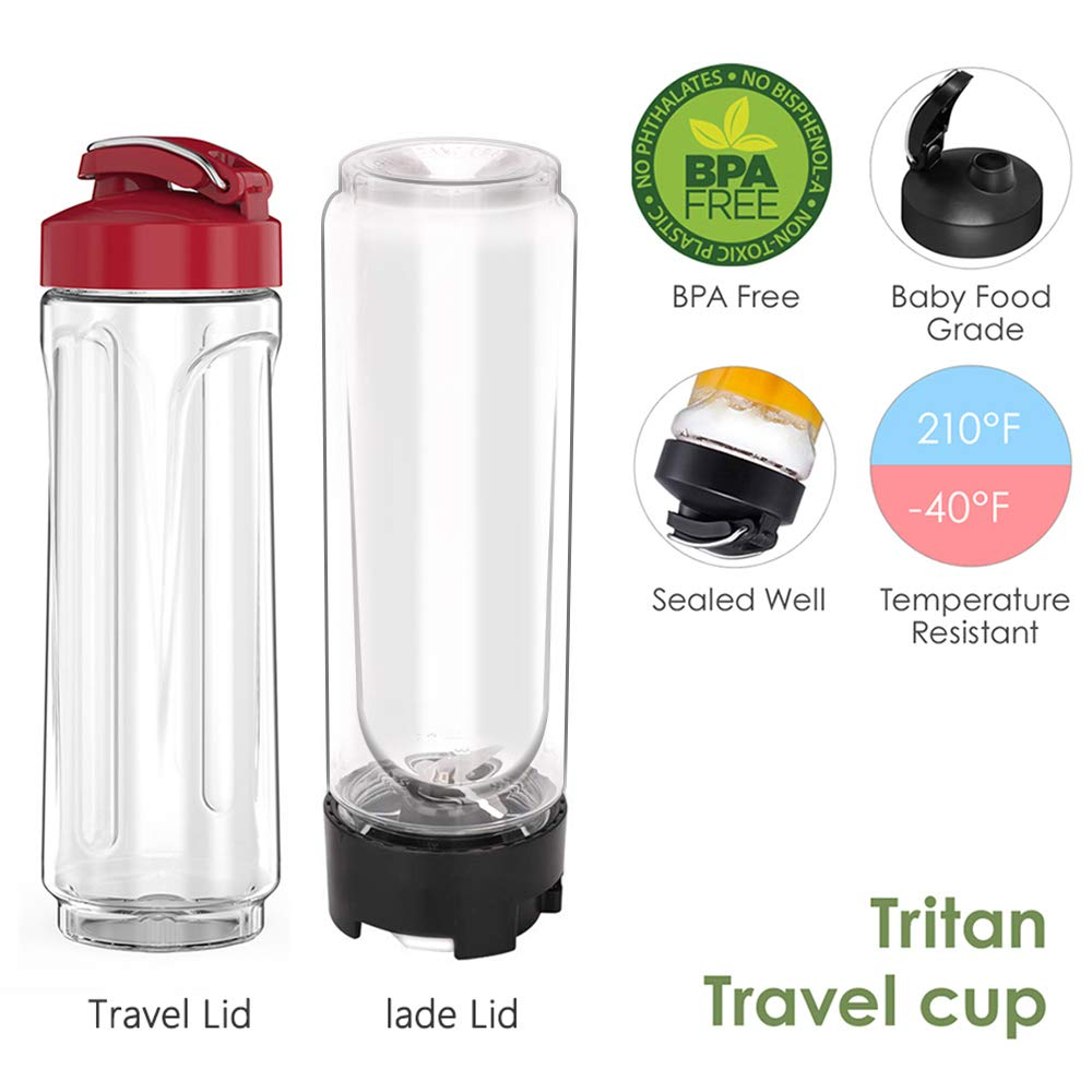 Red Comfee Single Serving Blender with 2 20oz Tritan Sport Bottle and 2 Travel Lids for Morning Smoothie or A Post-workout Protein Shake