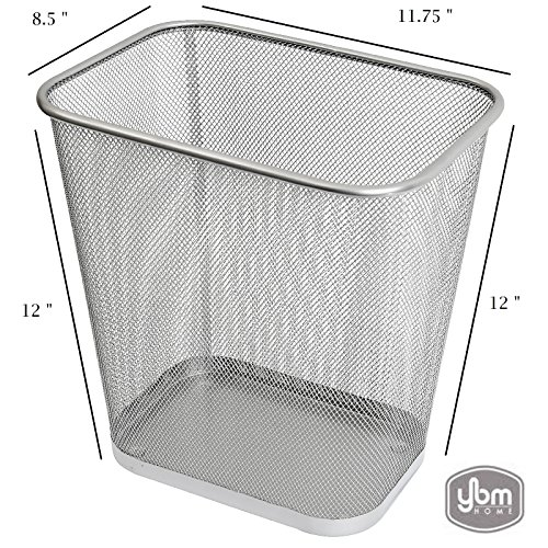 (Ybmhome Steel Mesh Rectangular Open Top Waste Basket Bin Trash Can for Office Home 8x12x12 Inches 1042s (1, Silver) )
