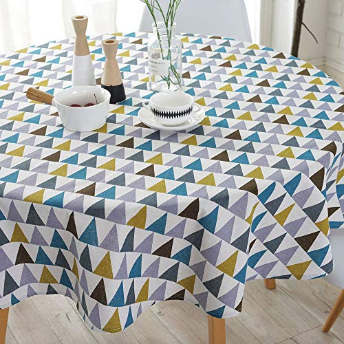Lahome Geometric Series Pattern Tablecloth - Cotton Linen Round Table Cover Kitchen Dining Room Restaurant Party Decoration (Geometric Triangle, Round - 60
