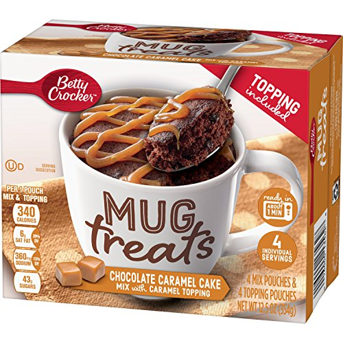 Betty Crocker Baking Mug Treats Chocolate Cake Mix with Caramel Topping, (Pack of 6) -