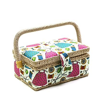 11a6067f9d9a09 Amazon.com: D&D Small Sewing Basket with Sewing Kit Accessories for ...