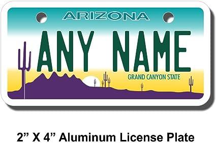 Key Rings Version 1 Sizes for Kids Bikes Cars Cart Trucks TEAMLOGO Personalized Arizona License Plate