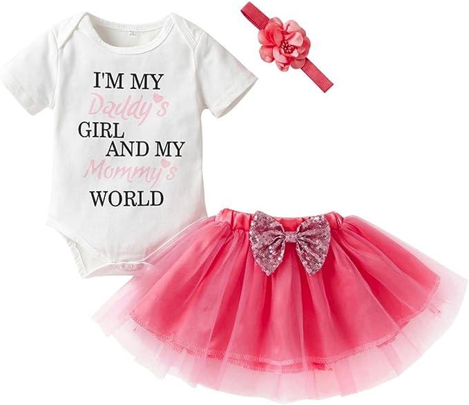 Gonna Fascia Tutu Abito Dress BeautyTop Vestito da Bambina Abiti Neonata Bambino Manica Corta Vestiti da Principessa Lettera Romper Pagliaccetto Tops