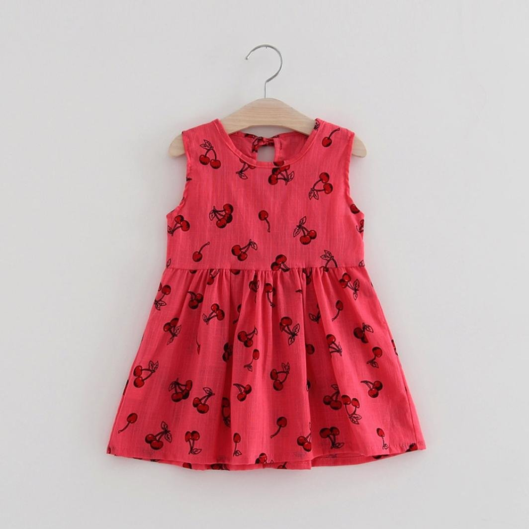 Vovotrade Toddler Girls Princess Dress Party Wedding Sleeveless Printed Cherry Dresses