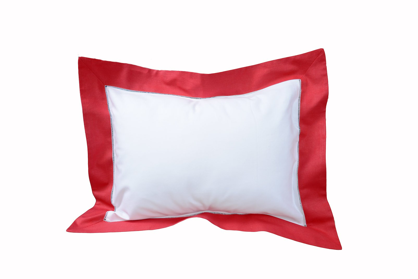 OPTCO Baby Pillow Sham Color Trimming. 12x16 Baby Sham. Pillow Form Included. White with Red Color Trim