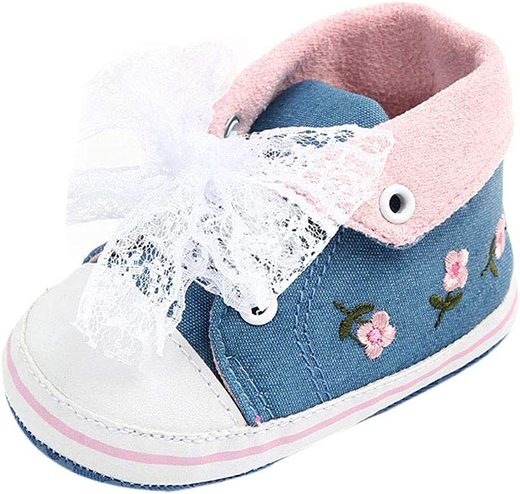 Comway Baby Girls Walking Shoes Infant Newborn Toddler Soft Sole Canvas Sneakers for First Walkers 0-18-Months