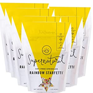 Rainbow Starfetti Sprinkles by Supernatural, Natural Confetti Sprinkles, Gluten Free, Vegan, No Artificial Dyes, Soy Free, 1 Pound (6 pack)