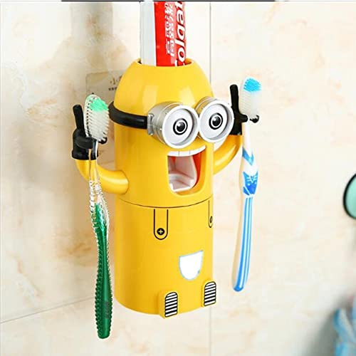 Cooler®Despicable Me Minions Distributeur Automatique de Dentifrice + 2 Brosse à Dents Holder Set Jaune + Un Verre à dent Aimable Pratique+Emballage en Cadeau