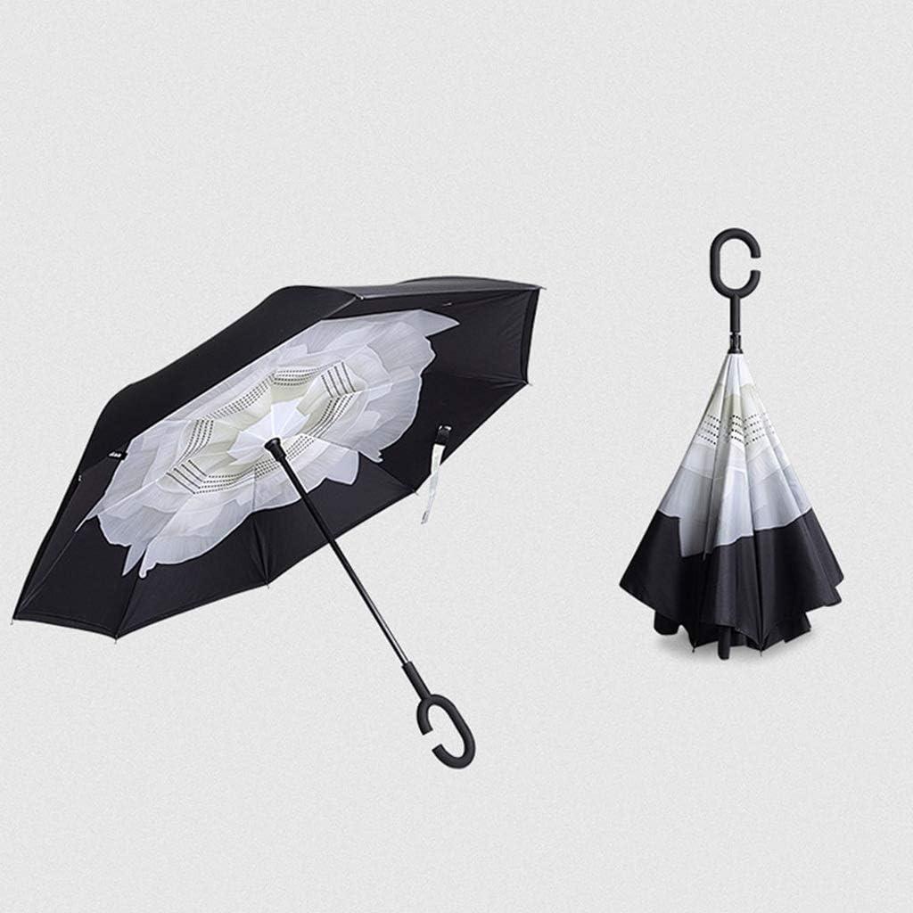 Color : E Reverse Umbrella Double Umbrella Face Free Holding Folding Folding Umbrella Dual-use Long Handle Anti-Bone Umbrella