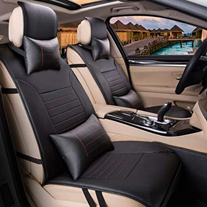 Amazon.com: Sunluway Front and Rear Car Seat Cushion Cover Needlework PU Leather 10PCS Full Set: Automotive
