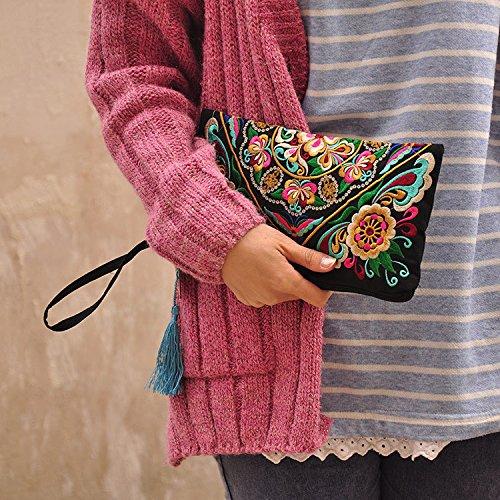 wlgreatsp Mujer Bolso bordado flor retro del satén Bolso de moda Titular de la moneda de la tarjeta telefónica Bolso de: Amazon.es: Zapatos y complementos