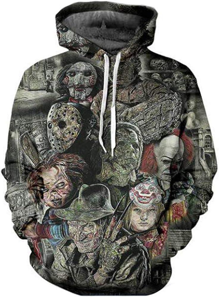 maduang Hoodies 3D Digital Movie Horror Cartoon Couple Casual Sweatshirt for Men Women