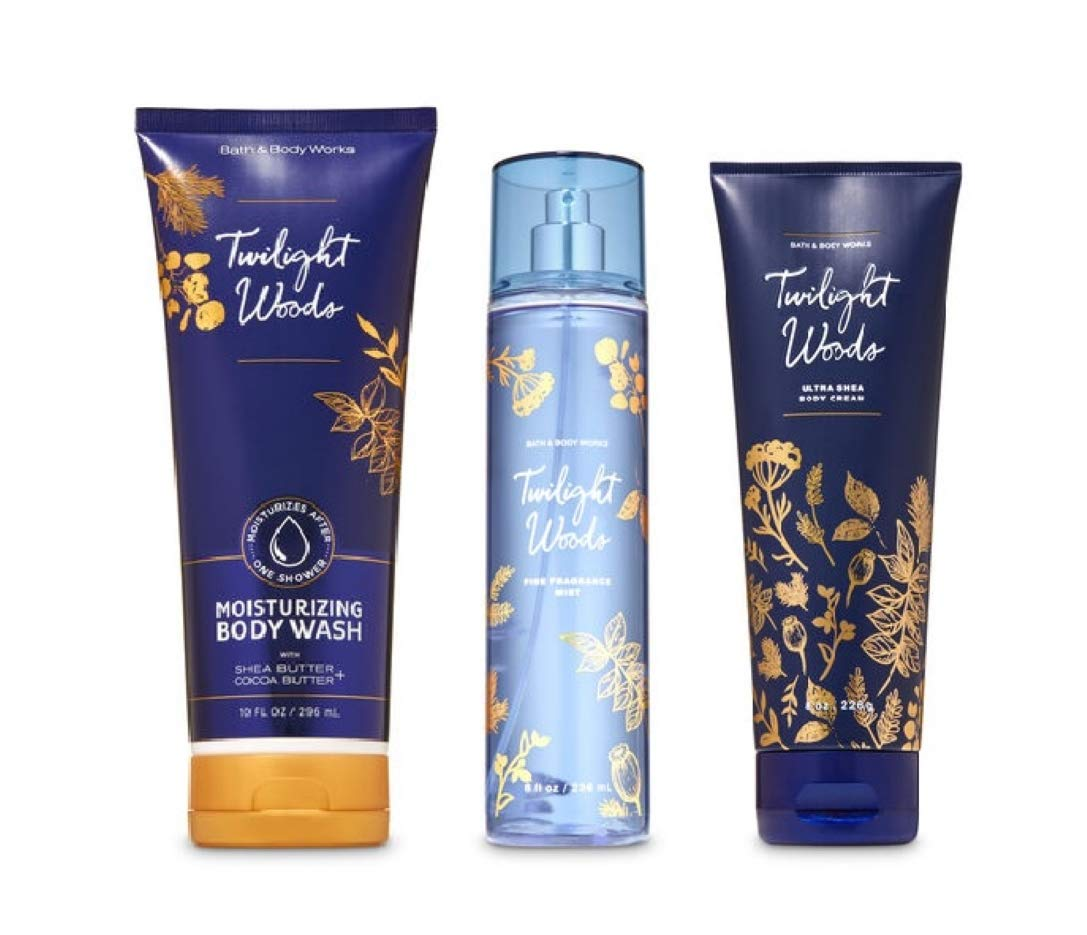 Bath and Body Works - Twilight Woods - 3 pc. Gift Set - Moisturizing Body Wash, Fine Fragrance Mist and Ultra Shea Body Cream - (2019 Edition)