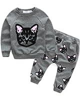 puseky Toddler Kids Girls Cute Cat Sweatshirt Tops & Pants Tracksuit Outfits Set