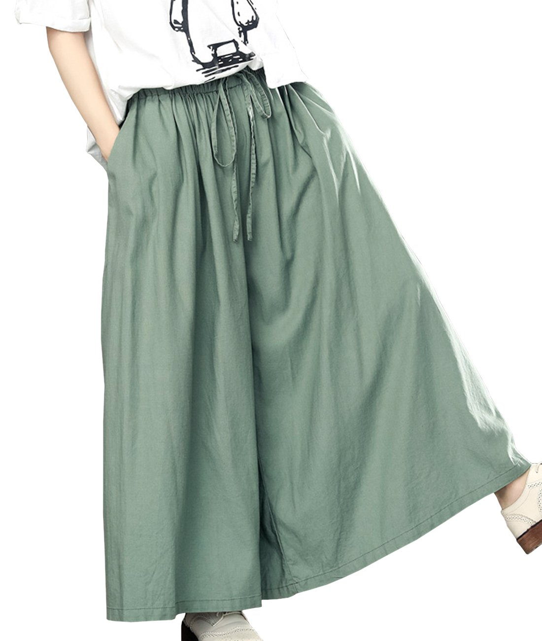 YESNO P75 Women Casual Loose Fit Pants Skirts Linen Wide Leg Low Crotch Pockets
