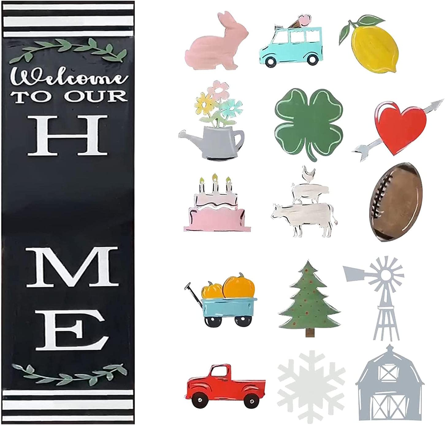 Outerrim Home Leaner with 15 Shapes Interchangeable Leaner, Welcome Sign Front Door Hanger, Rectangle Welcome Sign for Farmhouse, Rustic Wooden Door Hangers Front Porch Decor, Hanging Vertical Sign (A)
