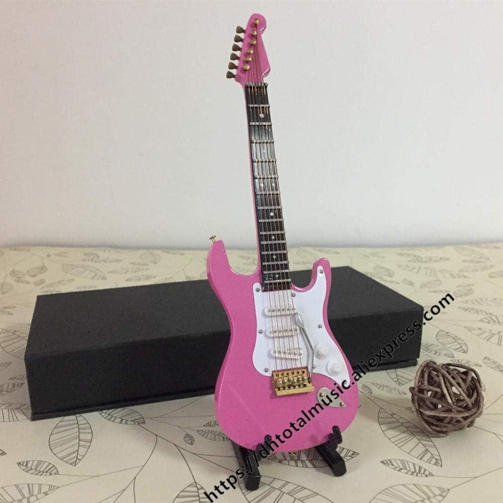 SYXMSM Mini Electric Modelo Guitarra Miniatura Guitarra Acústica Decoración Mini Instrumentos Musicales con La Caja Y El Soporte Rosa Decoración (Color : Electric Guitar)