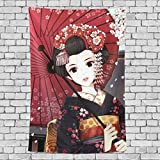 Vertical Wall Tapestry, Japanese Geisha Girl, Dorm Throw Bedroom Living Room Window Doorway Curtain Home Decor, Tapestry Wall Hanging, 60x40 Inch