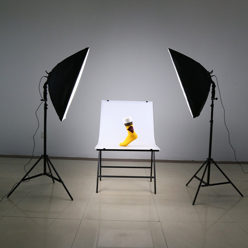 Photography Continuous Softbox Lighting Kit 5500K Professional Light System with 10pcs Bulbs 2pcs 5in1 Socket for Filming Model Portraits Advertising Andoer 2000W Photography Studio Lighting Kit