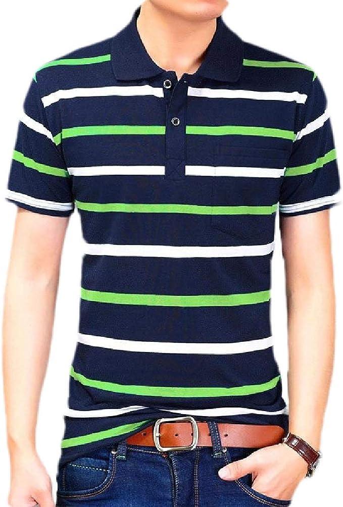 Qiangjinjiu Men Slim Fitted Stripes Short Sleeve Polo Shirt