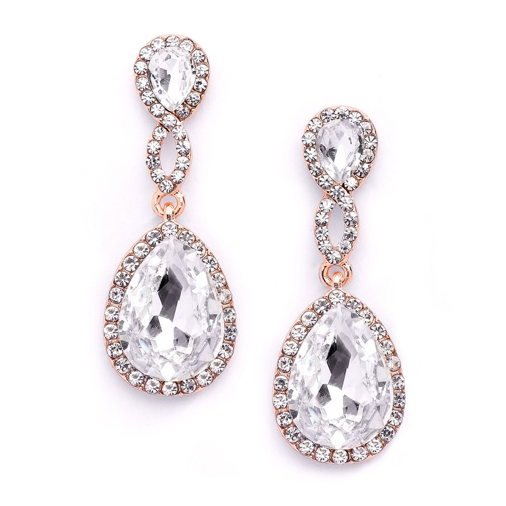 Mariell Rose Gold Crystal Dangle Earrings for Bridal, Wedding & Prom with Infinity Symbol Figure''8''