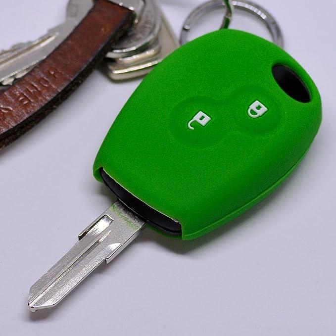Silikon Soft Case Schutz Hülle Auto Schlüssel 2 Tasten Grün Kompatibel Mit Dacia Dokker Sandero Duster