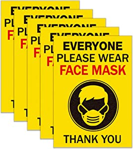 SICOHOME Face Mask Sign Stickers,5pcs, 5
