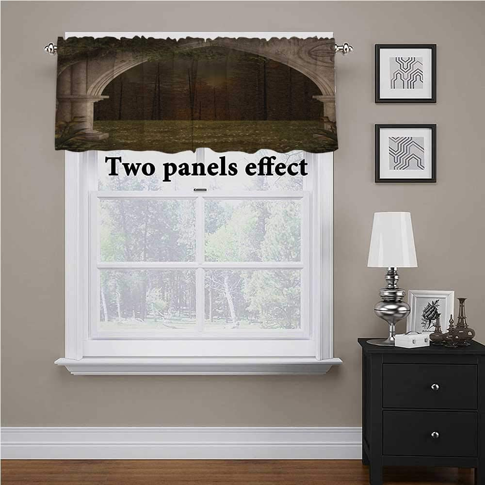 """Interestlee Gothic Textured Kitchen Curtain Valance Old Retro Arch in The Garden Renaissance Meadow Forest Dark Scary Design Image for Living Room Bedroom Green Beige, 42"""" x 18"""""""