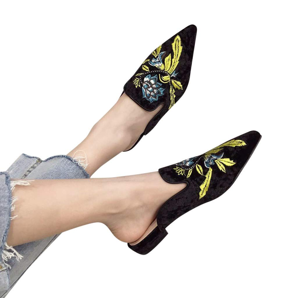 BOOMJIU Women Low Heels Mules Slip On Flats Loafers Pointy Toe Printed Slide Slipper Shoes