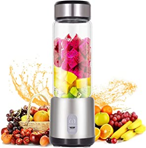 Mini Blender for Shakes and Smoothies,Portable Blender and Small Blender with USB Rechargeable Cordless for Travel, 5200MAH with 13oz Glass Blender Cup