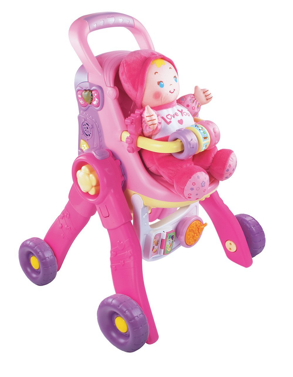 VTech Baby Amaze 3-in-1 Care and Learn Stroller Stroll-Along Walker in Pastel Pink and Purple Great for Baby Girls