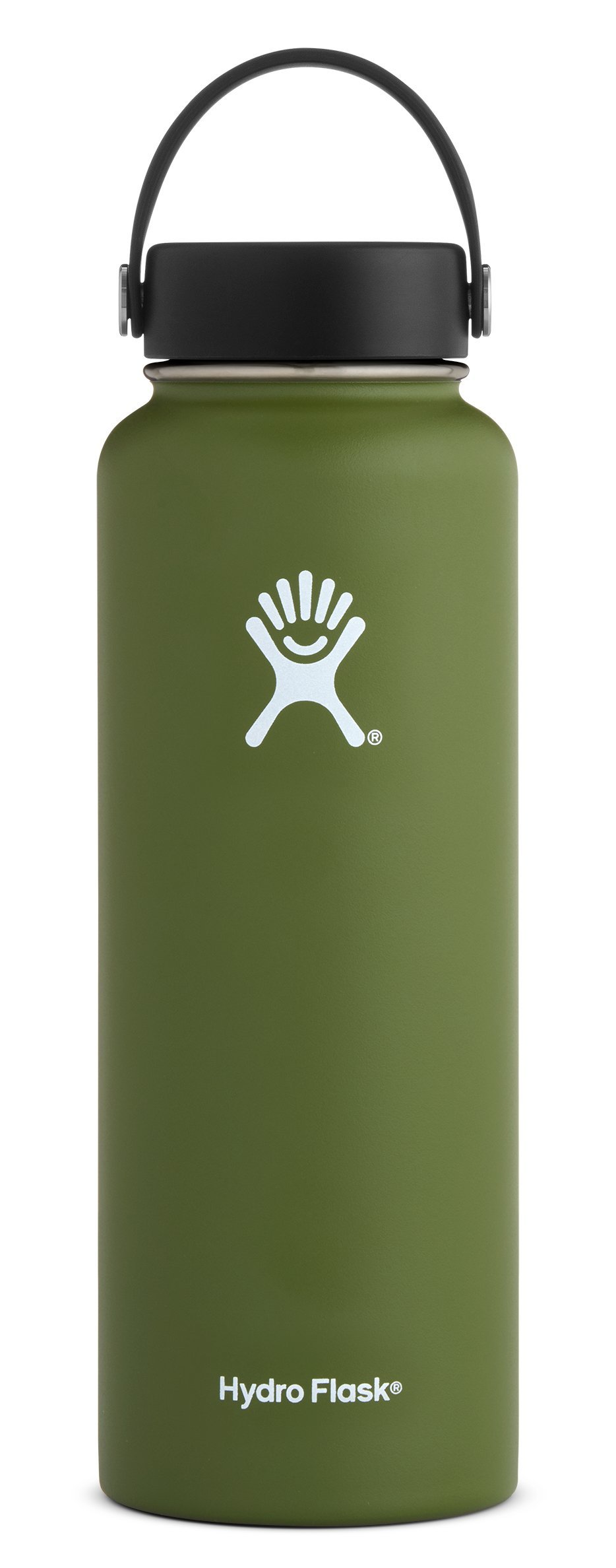 Hydro Flask 40 oz Double Wall Vacuum Insulated Stainless Steel Leak Proof Sports Water Bottle, Wide Mouth with BPA Free Flex Cap, Olive