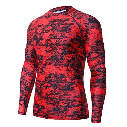 HUGE SPORTS Mens UV Sun Protection UPF 50+ Full Digital Print Rash Guard Long Sleeves (Pixel Red, M)