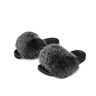 Real Fox Fur Slippers Luxury Slides Indoor Outdoor Slides Soft Flat Summer Shoes S6019B