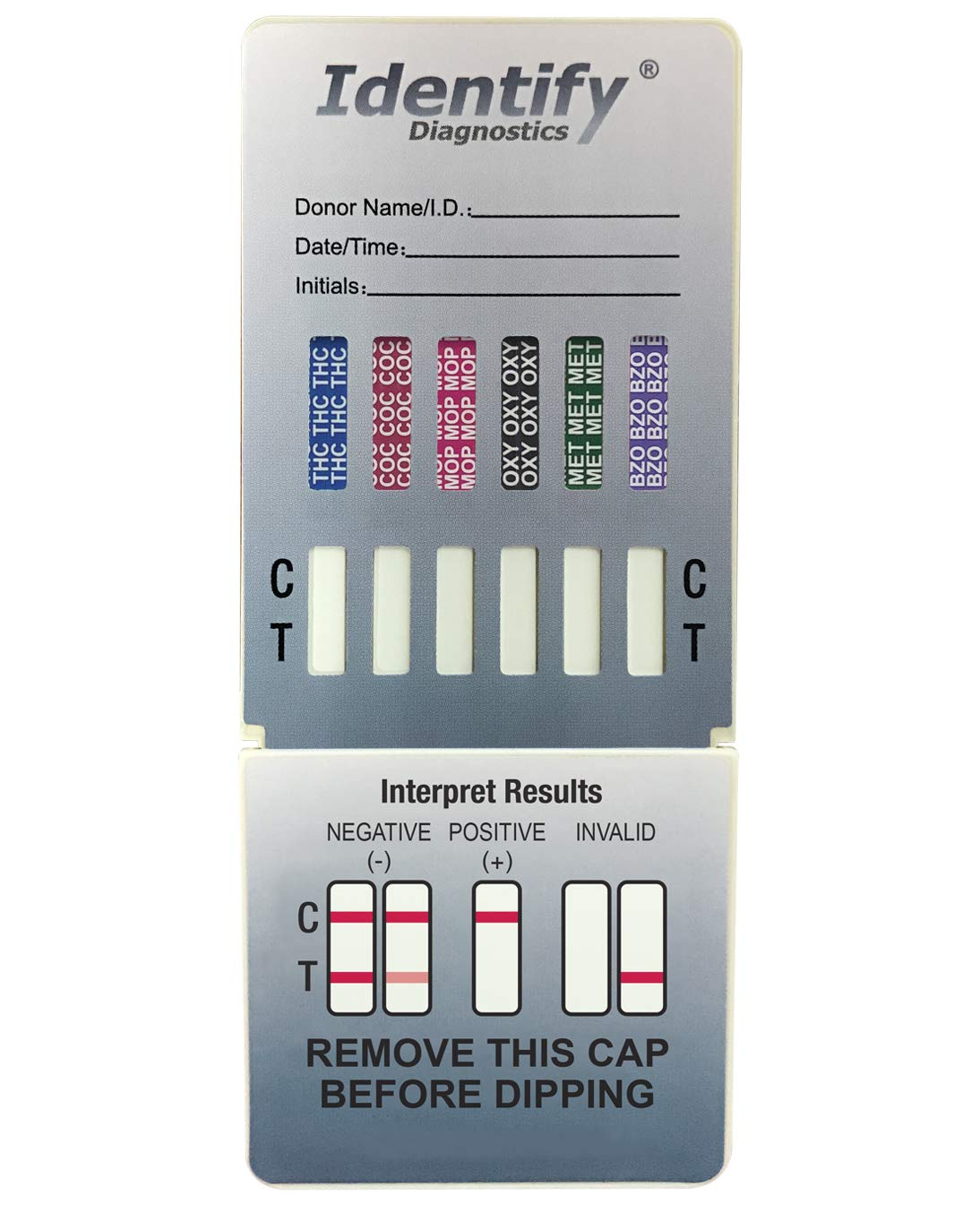 15 Pack Identify Diagnostics 6 Panel Drug Test Dip - Testing Instantly for 6 Different Drugs THC, COC, MOP, OXY, MET, BZO ID-CP6-DIP (15)