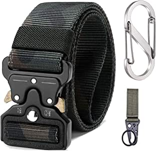 Military Tactical Belt with Military Hook Velcro, Waist Strap + Carabiner + Ring Buckle, Safety Belts Training Tactical Tapes with Buckle Quick Release for Police Outdoor, Hunting, Sport