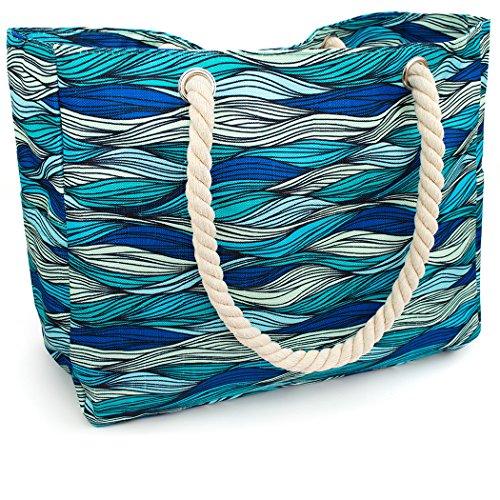 OdyseaCo - Kauai Beach Bag - Waterproof Canvas Beach Tote Bag w/Zipper