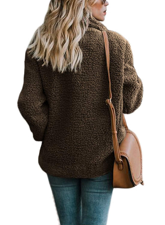 AlohaYM Womens Fleece Jacket Cardigan Sweaters Coat for Women with Pockets at Amazon Womens Coats Shop