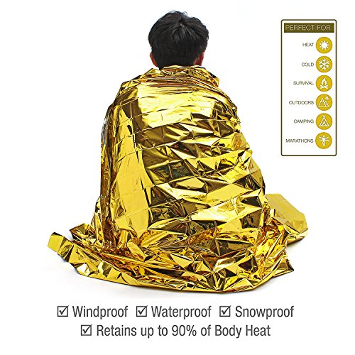 "Emergency Blanket (6 Pack), 63"" x 82"". Two Sided Extra Large Mylar Survival Blanket for Marathons, Camping, Outdoors, First Aid Kits, Survival Kit, Car Emergency Kit"