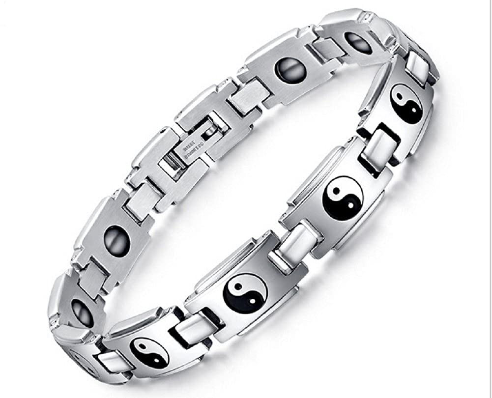 Unisex Magnetic Titanium Stainless Steel Bagua Eight Diagrams Therapy Bracelet -BR447