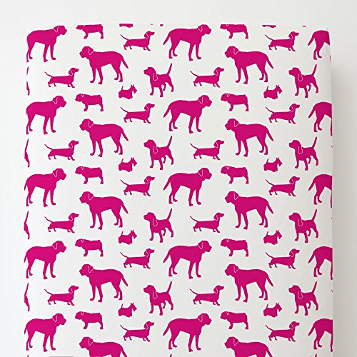 (Carousel Designs Fuchsia Dogs Toddler Bed Sheet Fitted)