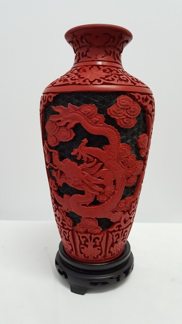 Only 1 left, Rare Large Exquisite Cinnabar Dragon Vase